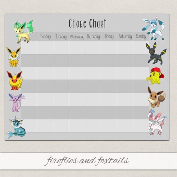 blank eevee pokemon behavior or chore chart visual schedule