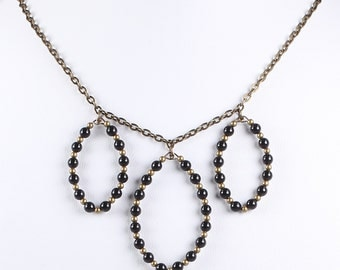 As seen on The Fosters Necklace Swarovski Pearl Necklace Antique Brass Chain Three Black Pendant Statement Choker