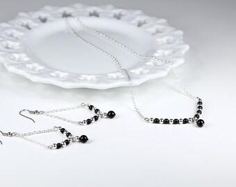 Pearl Necklace Black Swarovski Pearl Chain Trapeze Necklace