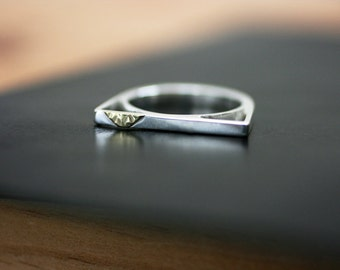 Gold Triangle Bar Ring