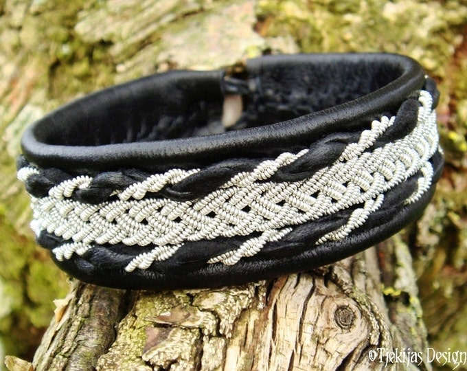 SEIDR Viking Bracelet in Swedish Sami style with Black Reindeer Leather, Spun Pewter Braids and Antler Button - Nordic Handmade Design