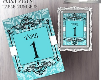 Wedding Reception Table Numbers - Robins Egg Blue - Printable Wedding Table Number Signs - 1-10 - DIY Printable - Instant Download