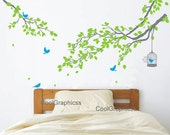 Nursery wall decal tree branch wall decals birds vinyl wall decals birdcage wall mural - two branch with birds cage
