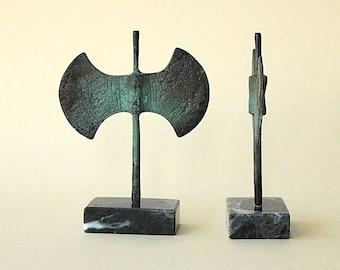 Bronze Double Axe, Greek Minoan Sculpture, Metal Art Sculpture, Museum Quality Art, Bronze Greek Art, Ancient Greece, Greek Mythology,