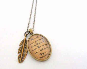 Psalm 91:4.  He will cover you with his feathers.  Vintage Style Necklace.