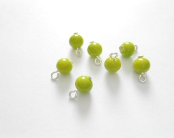 Lime-Green Opaque Dangle Beads
