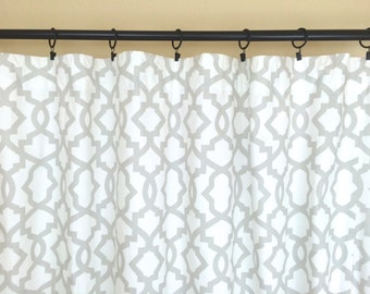 French Grey Sheffield Geometric Curtains. Pair of 2 Drapery Panels. 10 Sizes. Drapery. Light Gray