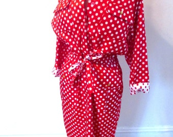 Vintage 1980's Red and White Polka Dot Dress Size M/L