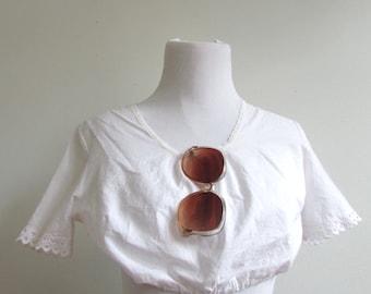Vintage 1970's Shirt l White Cotton Crop Top l Size XS/S l Vintage Shirt