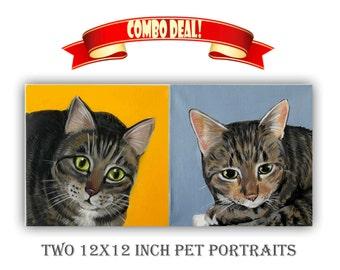 Set of 2 12x12 inch Custom Cat Portrait / Custom Pet Portrait - 1 to 2 Pets Solid background Acrylic on canvas Decor Gift idea Memorial