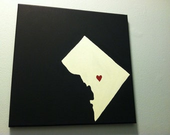 "Washington DC Love Painting - 12x12"" canvas - Hand painted"