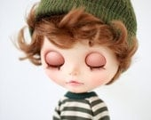 Miss yo Little Hoodie for Blythe doll - doll outfit - Green Stripes