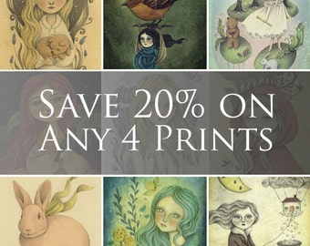 SAVE 20 PERCENT on any 4 Prints, Set of Four Prints with Discounted Price, Select any 4 Art Prints, Art Print Set for Home Decor, Nursery