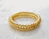 Skinny Gold Ring, Stacking Gold Ring, Gold Beaded Ring, Skeletal Ring, Bridesmaids Ring, Promise Ring