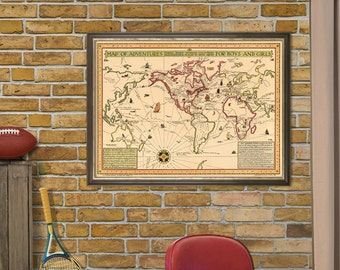 Map of adventures - Adventures map for kids  - Illustrated maps for kids -  World map for kids - Fine print