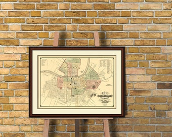 Nashville map - Old city map print  -  Map of Nashville  - Archival fine print