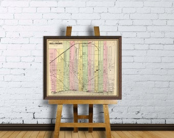Detroit map  - Map of Detroit  archival reproduction - Old maps  restored  - Fine print