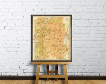 Old map of Cairo  -  Cairo map restored  fine reproduction  - Historic maps