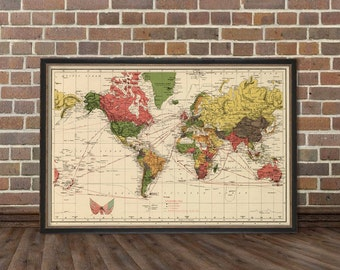 Vintage  world map print - Antique  wall map  restored - Archival reproduction - Great wall decor