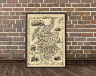 Scotland map  - Archival reproduction - Vintage map of  Scotland