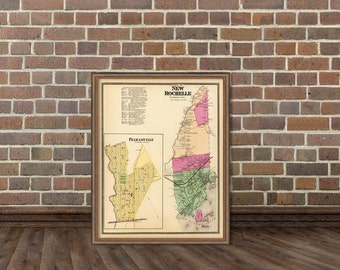 New Rochelle  map  - Old map fine print