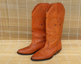 Vintage Lady's Orange Leather Cow Girl Boots Size EUR 36 / US Woman 6