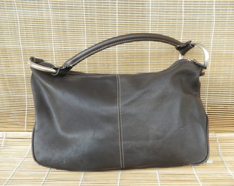Vintage Lady's Dark Brown Faux Leather Small Size Hobo Bag Purse
