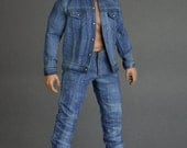 1/6th scale XXL size washed jeans pants