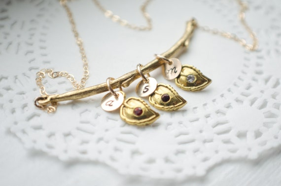 Gold Branch Family Necklace | Gold Filled Initials and Chain | Leaves with Birthstone Crystals | 1 2 3 4 5 6 Children | Leaf Necklace
