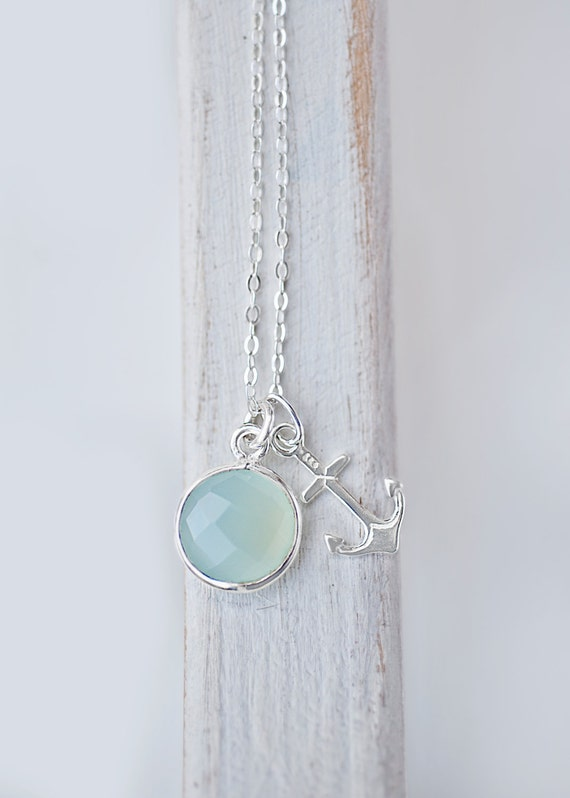 Sterling Silver Anchor Necklace - Aqua Mint or Bright Turquoise Nautical Jewelry | Minimalist