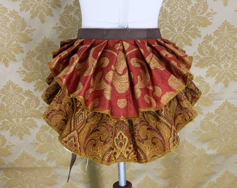 "ON SALE!  New Longer Pattern 2 Tier Bustle Belt Overskirt - Sz. XS/S - Burgundy, Caramel, Brown, & Gold - Fits up to 44"" Waist"