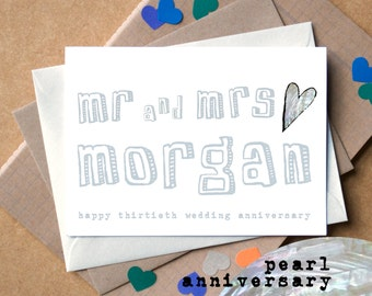 Pearl Anniversary Card - Thirtieth Wedding Anniversary Card - Personalised 30th Wedding Anniversary Card - Mr and Mrs Personalized Card