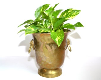 Brass Planter Brass Container Brass Planter with Handles Brass Bucket Brass Container Brass Home Decor Vintage Brass Planters