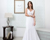 SAMPLE Merindah Wedding Dress // Lace Boho  Fit and Flare Wedding Dress// Bohemian Fitted Wedding Dress in Full Lace with Illusion Detailing
