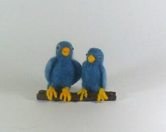 Blue Lovebirds, Needle Felted Blue Birds