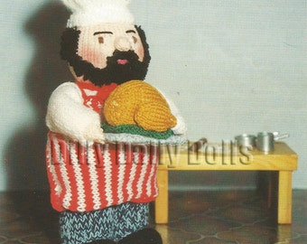 Anne Carol Creations Woolly Wotnots No 45 THE CHEF Toy Doll Ornament Knitting pattern