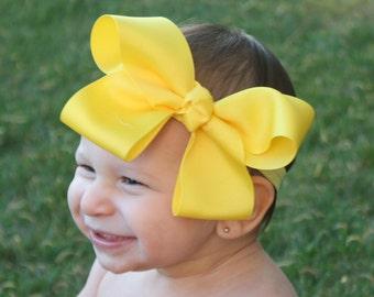 Big Bow Headband - Big Yellow Baby Bow Headband - XXL Baby Bow