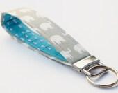 Key Fob, Wristlet Keychain, White Elephants on Grey Fabric