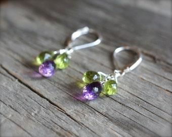 Peridot amethyst earrings. Sterling silver purple amethyst peridot earrings. Mixed gemstone purple green briolette earrings - MADE TO ORDER.