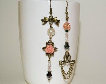 Long Bohemian Earrings, Mismatched Earrings, Boho Earrings, Eclectic Earrings, Black and Pink, Kitsch Earrings, Boho Long Drop Earrings