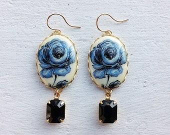 Blue Rose Earrings/Vintage Earrings/Flower Earrings/Black Earrings/Earrings/Black Rhinestone Earrings/Blue Delft Earrings/Mother's Day Gift