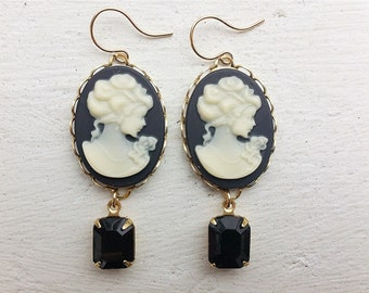 Black Cameo Earrings/Cameo Earrings/Black Earrings/Black Rhinestone Earrings/Black And Cream Earrings/Cameo Jewelry/Mother's Day Gift