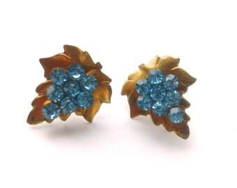 Blue Rhinestone Copper Leaf Earrings Pretty Retro Fashion Jewelry