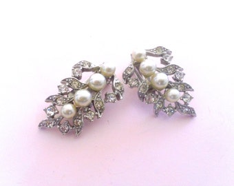 Charel Faux Pearl & Rhinestone Earrings Retro Fashion Mad Men Brides Wedding Jewelry