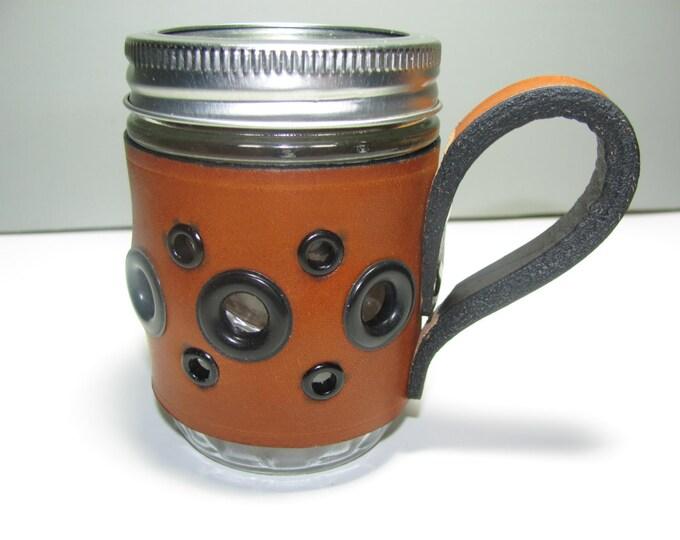 mason jars, tan leather sleeve mason jar,leather cozie, mason coffee mugs,cozies, tan leather mason jar.coffee cups, drinkware, barware