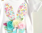 Easter Bunny Pastel Flower Onesie Baby Girl First Easter Bodysuit All Sizes and Styles Available