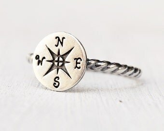 sterling silver compass rose ring - windrose - rose of the winds - nautical jewelry - ethical silver  - gift for her
