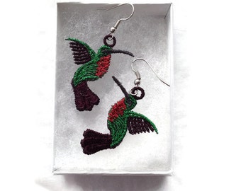 FREE SHIPPING - Hummingbird Earrings - Machine Embroidered Earrings -