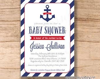 Nautical baby shower invitation/ Anchor Invitation / Red/Grey/Navy Nautical Anchor Invitation