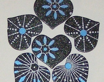 6 Glitter Heart Magnets - Recycled Greeting Card